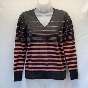 LOFT FACTORY Pink & Grey Striped Knit Top XS